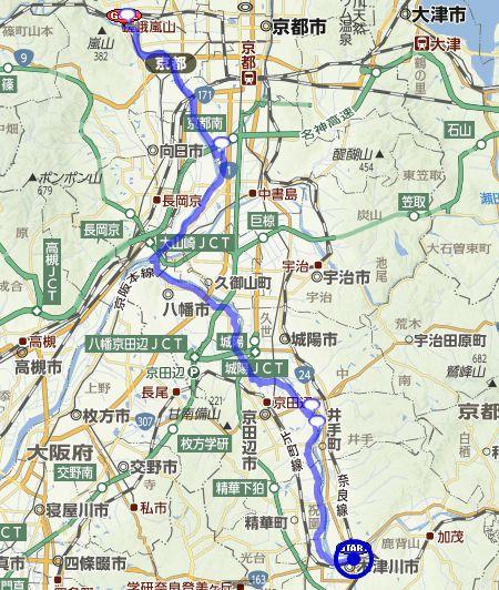 京都八幡木津自転車道 ルートマップ