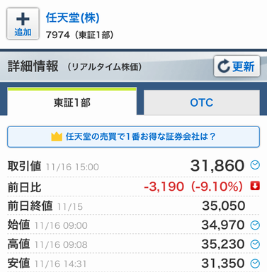 任天堂株価 大暴落